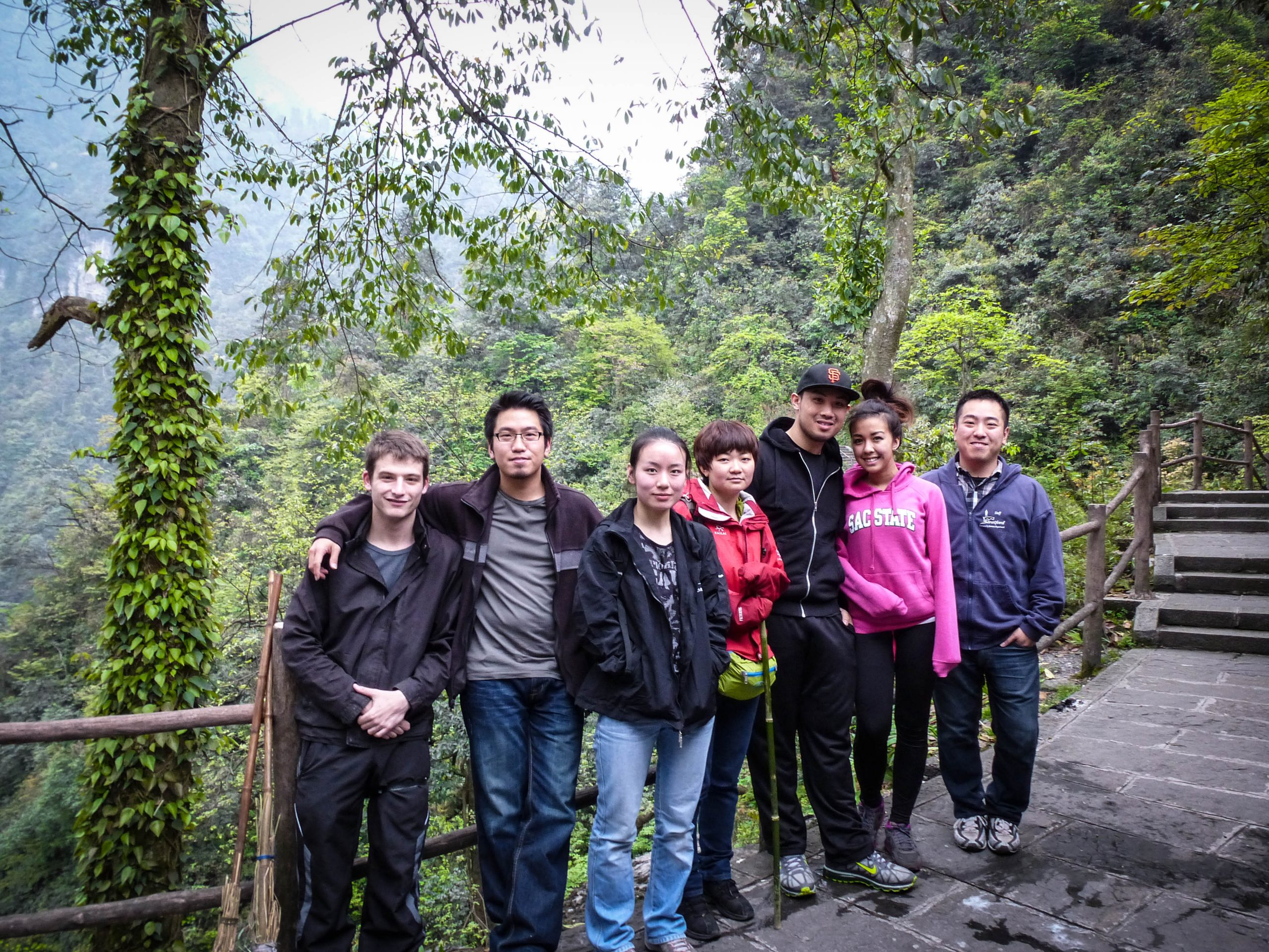 TEFL teachers on a trip with some Chinese friends to climb Emei Shan, China.