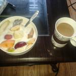 Fruit and milk porridge breakfast