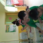 Kids washing bottles