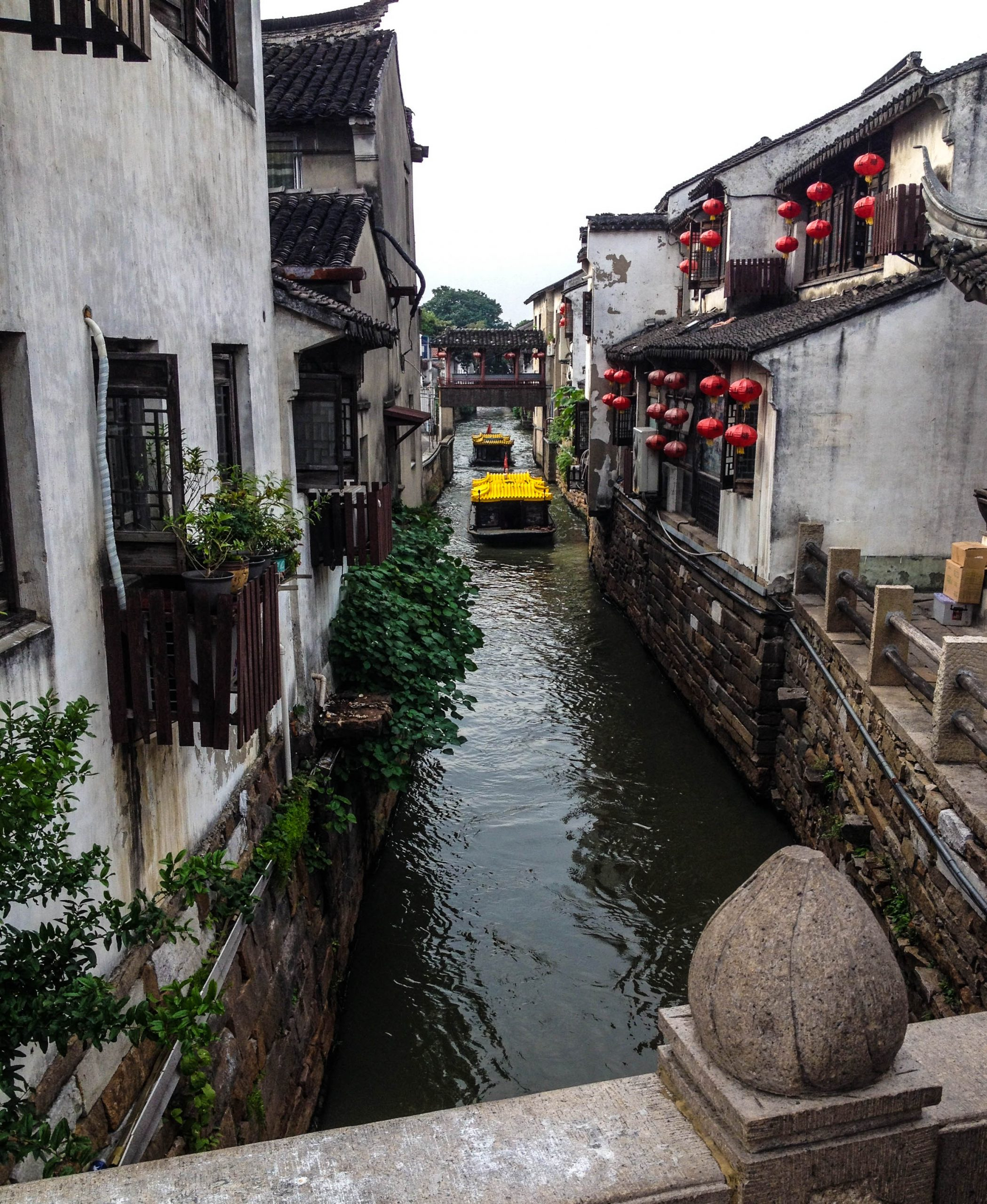 suzhou canal with boat in eastern China