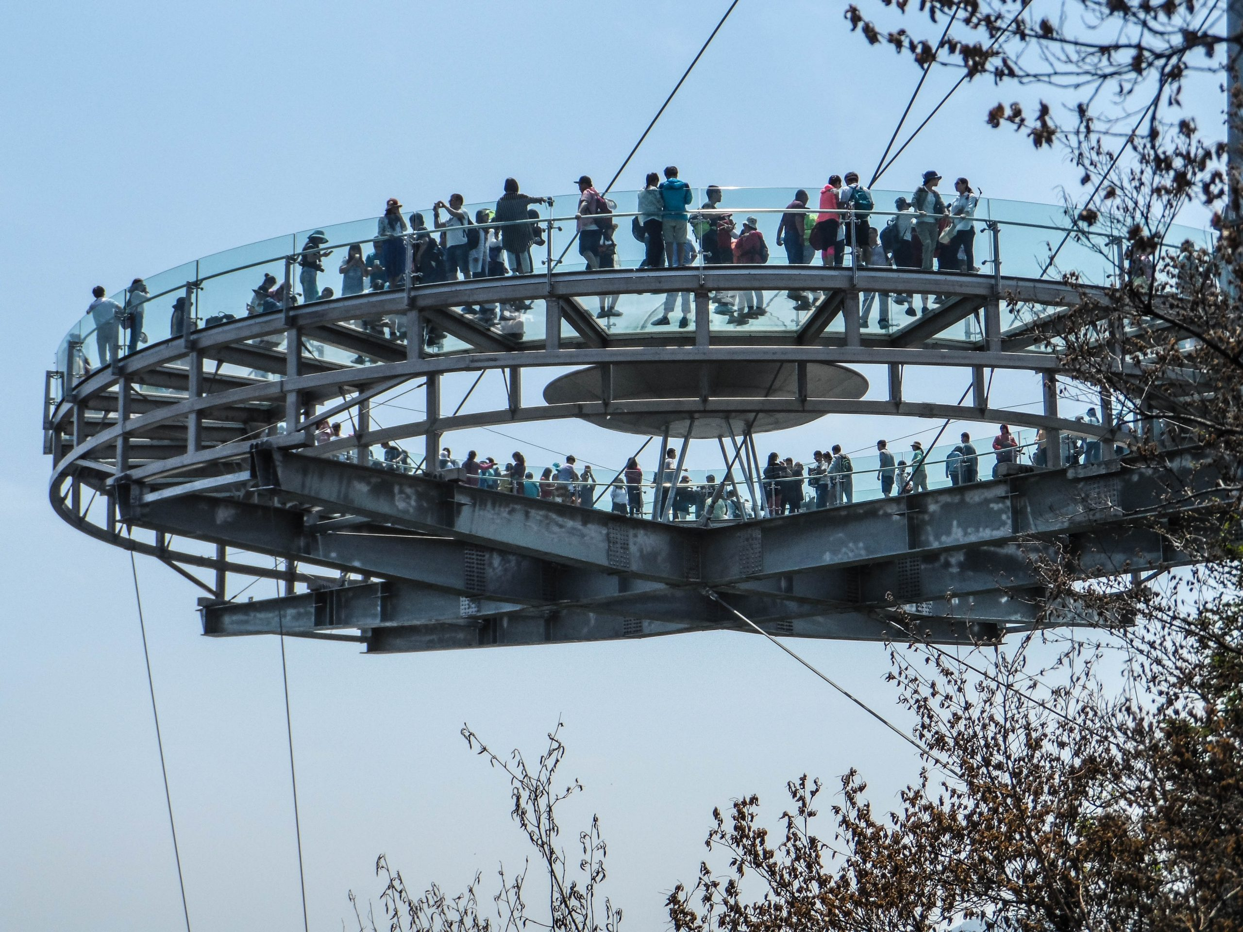 the new glass ufo walk on glass over a sheer deadly drop china