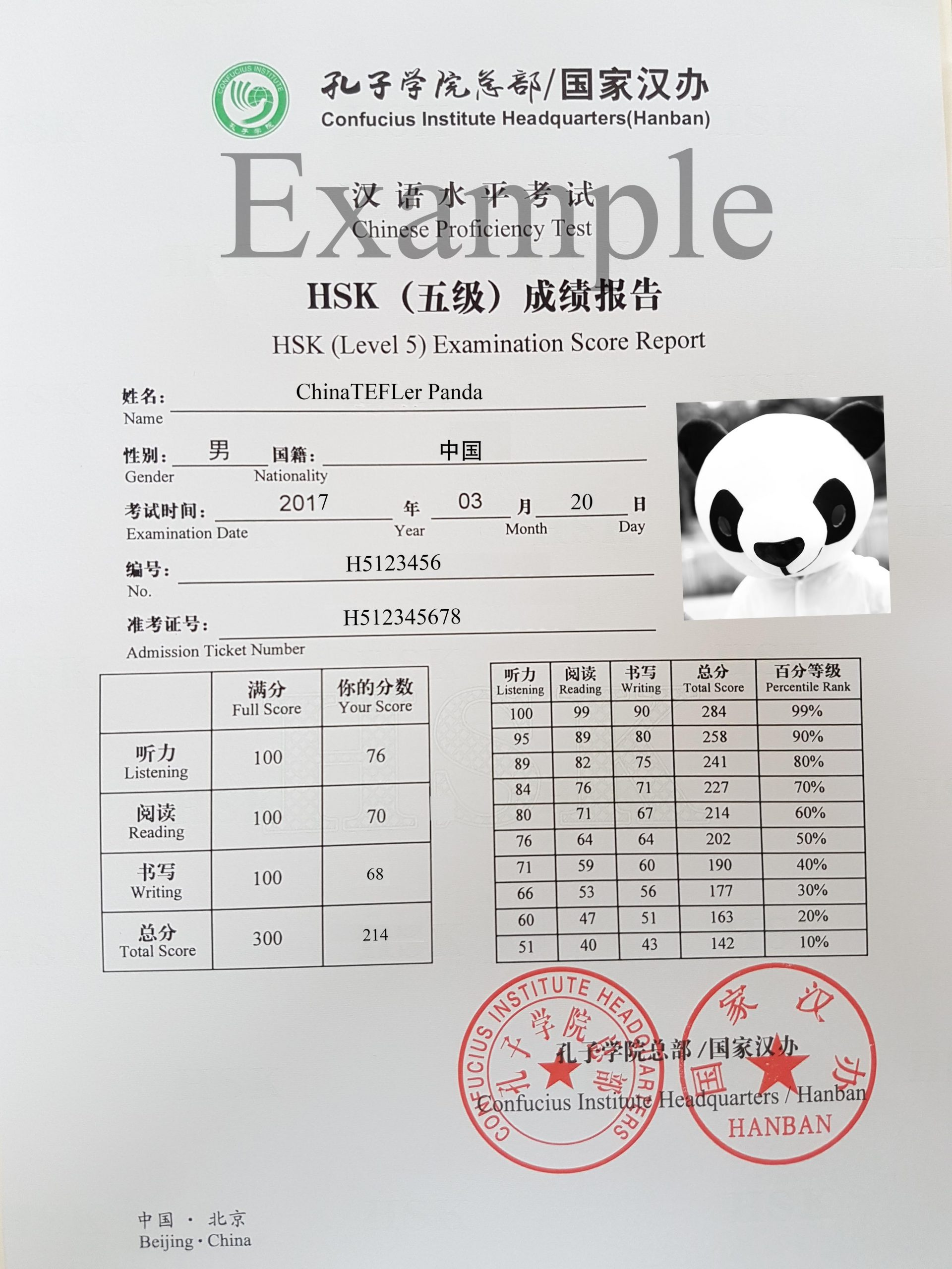 Example HSK certificate. Here the genius Mr Panda is pictured on a HSK level 5 mock certificate