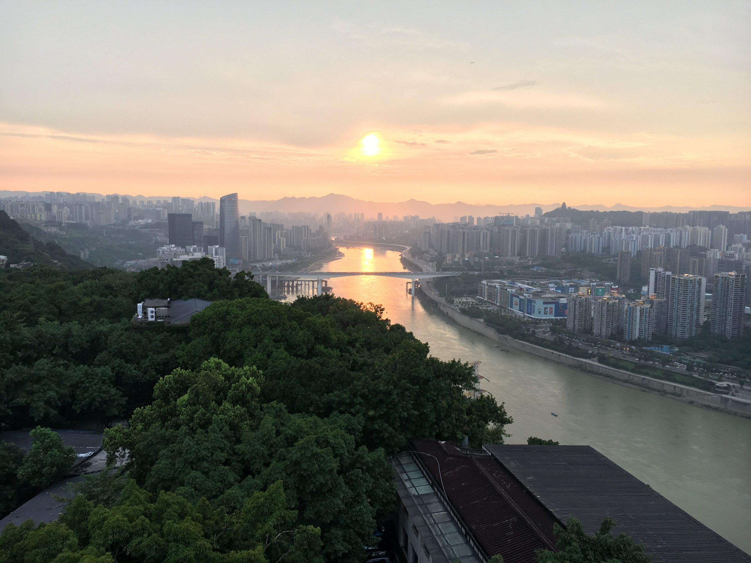 Chongqing view of the landscape along the river. Cityscape