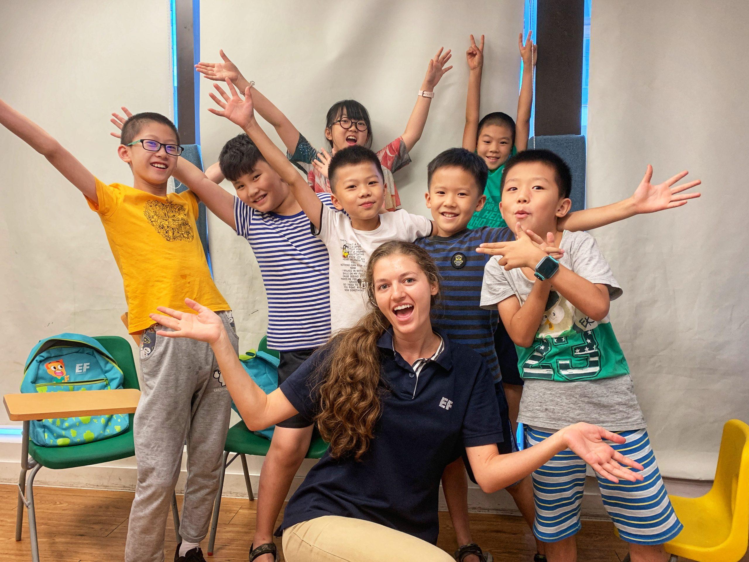 TEFL teacher Britanny with her students