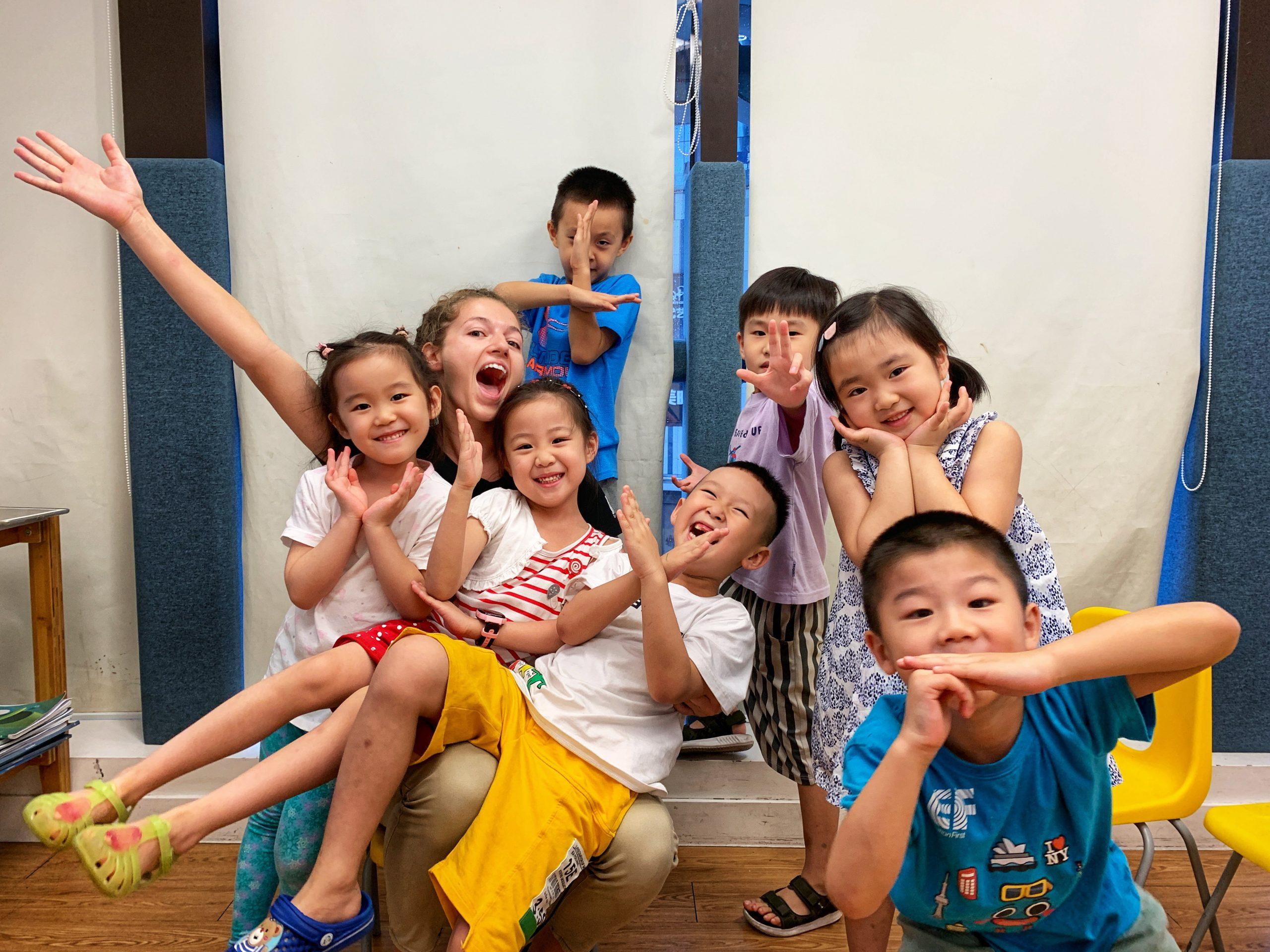 esl teacher Britanny with her students