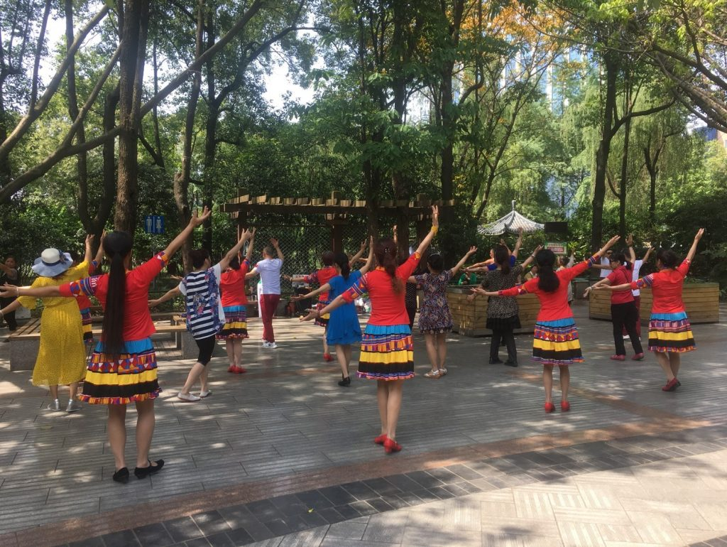 Dancers in people's park( renmin gongyuan) Chengdu