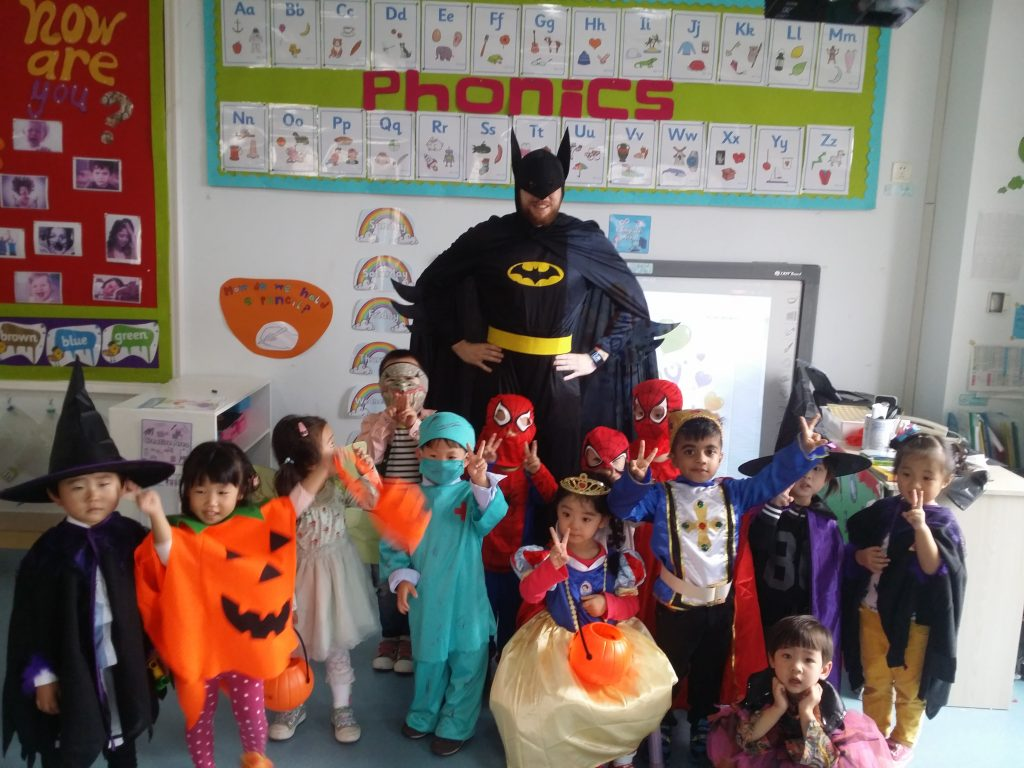 Dressed as batman in Oujing kindergarten class