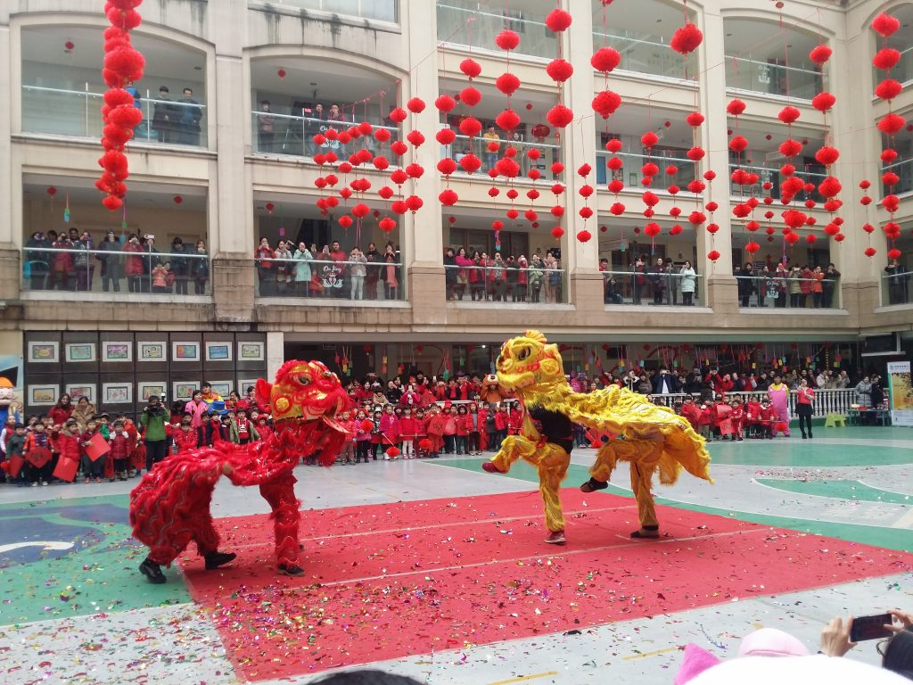 Dragon parade at Oujing Kindergarten Yiwu