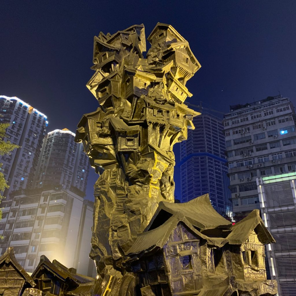 Art sculpture at night in Chongqing