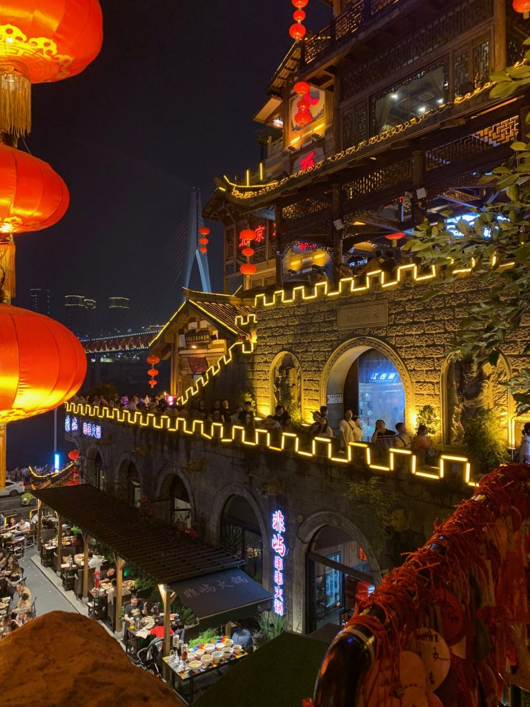 Market and castle at night in Chongqing