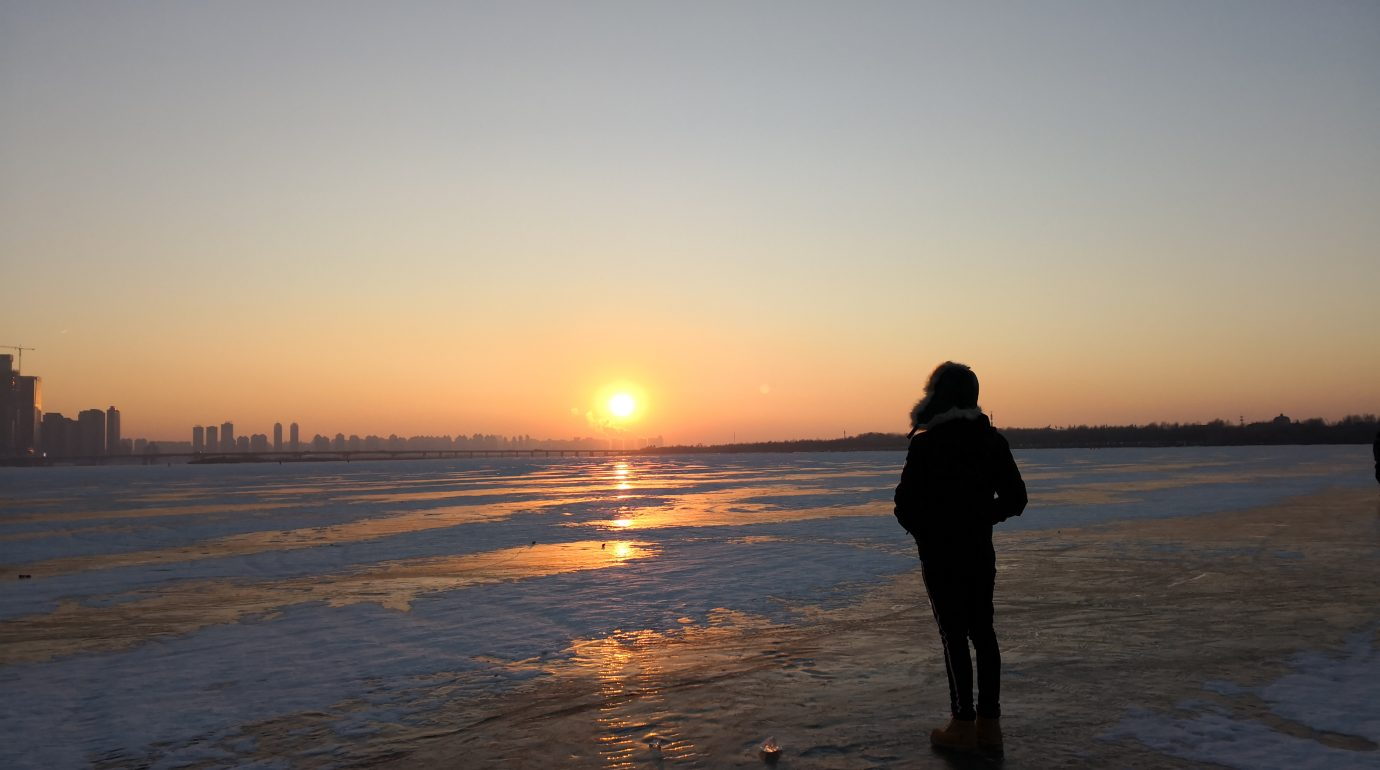 Standing on the frozen Songhua river in Harbin