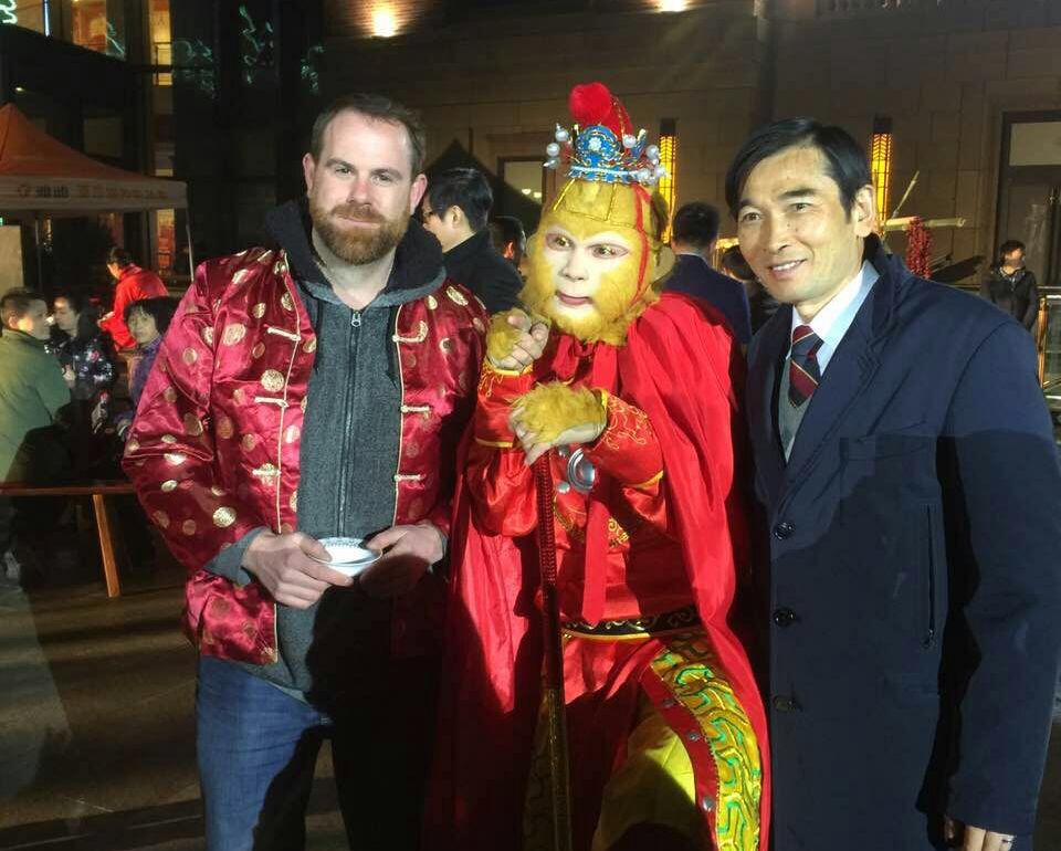 Teacher Andrew with the Monkey King Chinese New Year celebrations in 2016