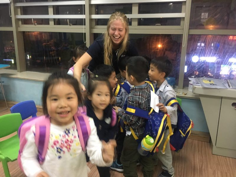 TEFL teacher Emma with her students at EF Shanghai