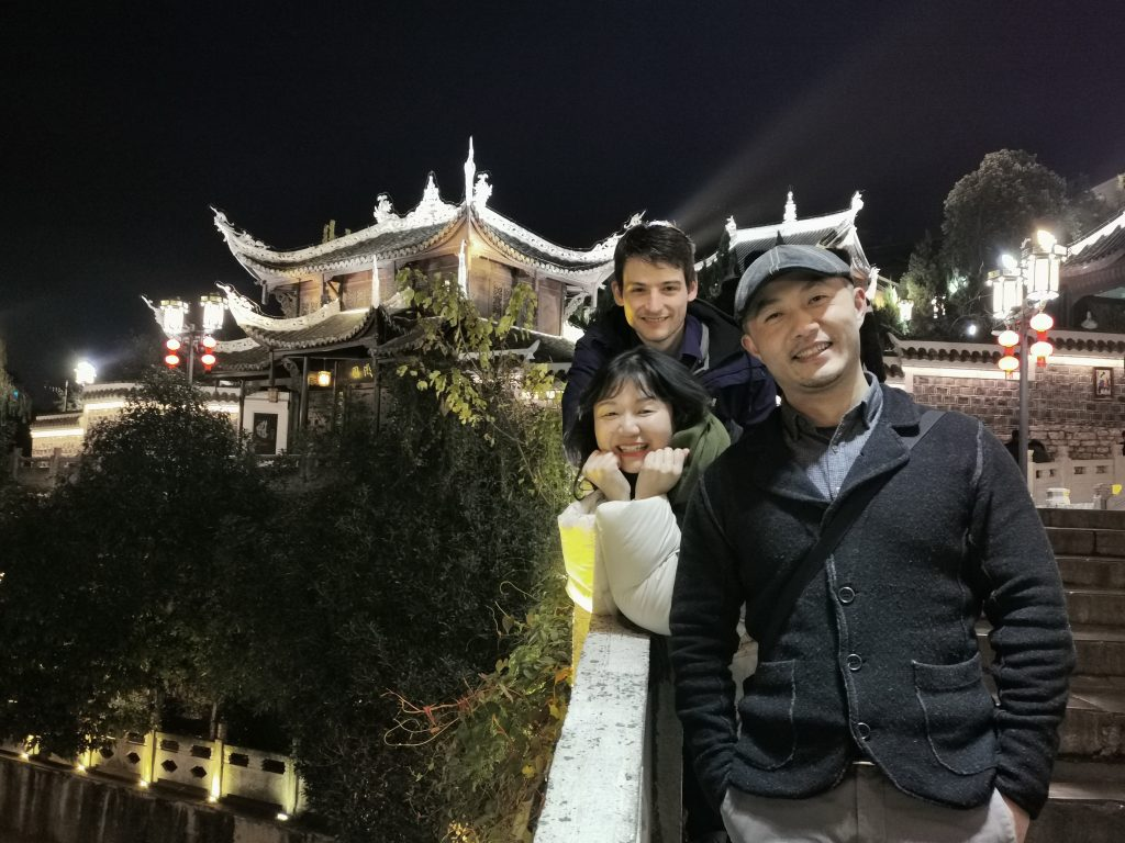 Ben in 2019 in Guiyang with Shane and Echo TEFL workers